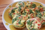 Scrambled Egg Muffins with Spinach, Bell Peppers, and Goat Cheese!