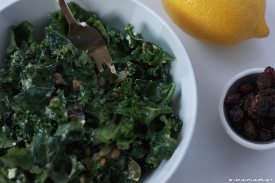 Kale Salad with Goat Cheese, Raisins, and Lentils in a Honey Dijon Dressing