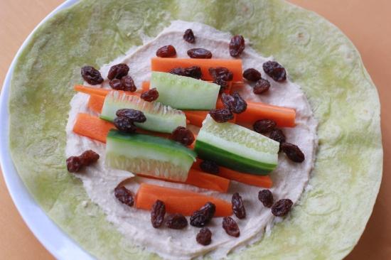 2-Minute Humus Veggie Wrap