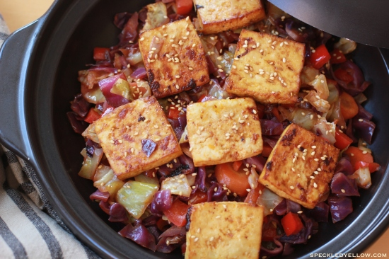 Spicy Baked Marinated Tofu with Cabbage-Veggie Stir Fry