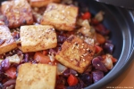Spicy Baked Marinated Tofu with Cabbage Veggie Stir Fry