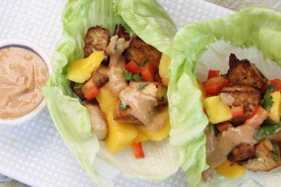 Thai Tofu Lettuce Wraps with Mango Salsa and Peanut Sauce
